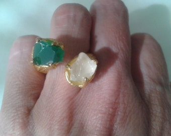 Massive brushed gold and ocean glass bypass ring (size 6)