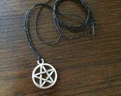 Simple Pentacle Necklace - Pewter, Waxed Cord, Silver, Charm, Witch