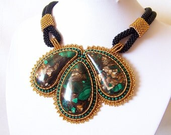 Statement Beadwork Bead Embroidery Pendant Necklace with malachite and bronzite - BRONZE GARDENS - amber, green and black
