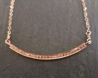 Pave Diamond Bar pendant, Pave diamond Rose Gold Crescent, genuine diamonds ,Minimalist holiday gifts, layering diamond pendant fine jewelry