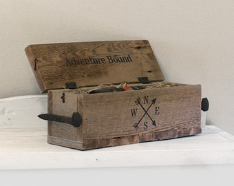 Reclaimed wine box, rustic recipe box with lid