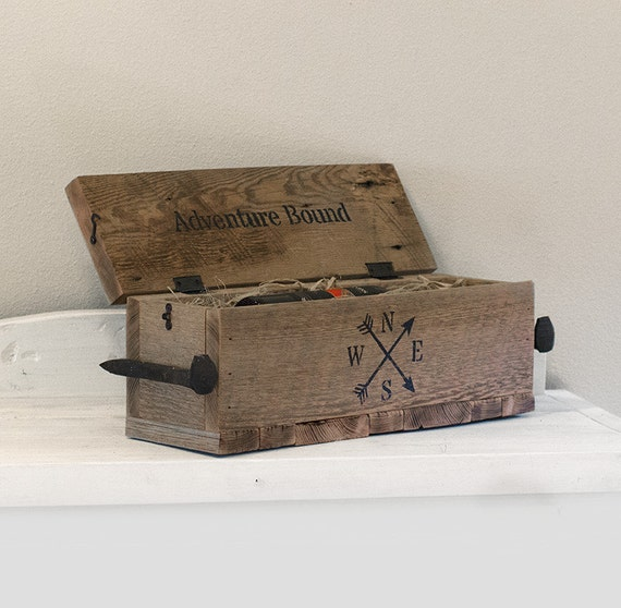 reclaimed wine box rustic recipe box with lid