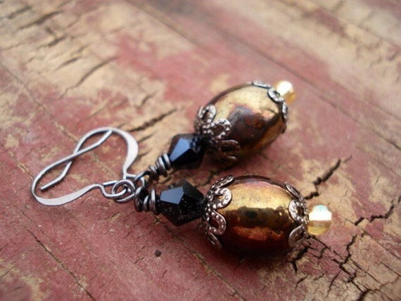 Swarovski Crystal Earrings, Iridescent Brown Czech Glass Earrings, Dangle Drop Earrings, Bohemian Boho Hippie Earrings, Women's Earrings