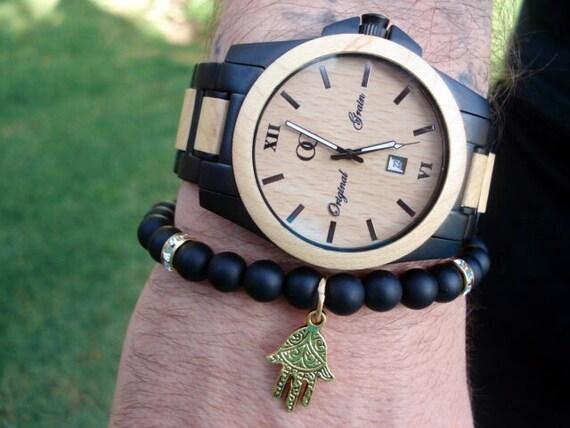 Hamsa Bracelet, Mens Black Bracelet, Mens Onyx Bracelet, Men Bracelet, Women's Bracelet, Spiritual Jewelry, Stretch Bracelet