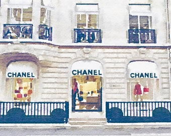 ART from Watercolor Painting, Chanel Paris Store Storefront Shop Fashion Illustration, Wall Home Decor