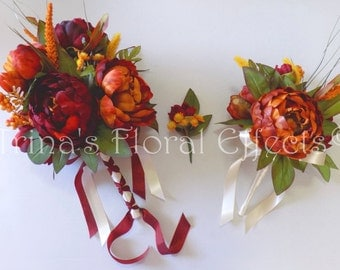 Fall Wedding Bouquet Set/ Peony Wedding Flowers
