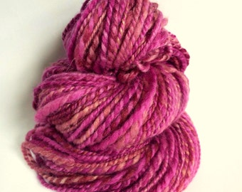 Chunky magenta pink wool, blue faced leicester yarn, knitting yarn / wool, thick bulky yarn