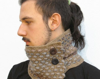 Crochet Knit Neckwarmer, Crochet Men's Neck warmer, Knit Men's Neckwarmer Scarf with buttons
