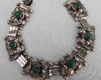 Vintage Early TAXCO Sterling SIlver bracelet Ornate With Green Stones 1940s