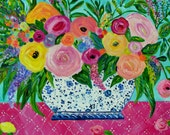 """Flowers in Blue and White Ginger Jar, Floral Still Life, GICLEE PRINT, Raspberry and Aqua, Colorful Blooms, """"MARI"""" by Carolyn Shultz"""