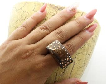 Wood Inlay Ring, Metal Wood Ring, wood metal ring, Bali Organic Sono Wood  Copper - Silver Dots Inlay Half-Dome Ring,