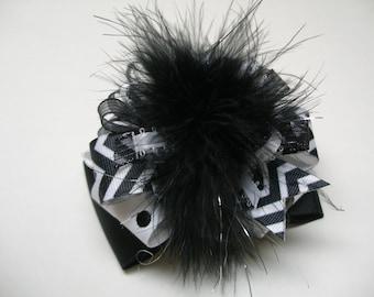 Diva Black and White Dots & Chevron OTT Hair Bow Girl Boutique Toddler Marabou Party Bow