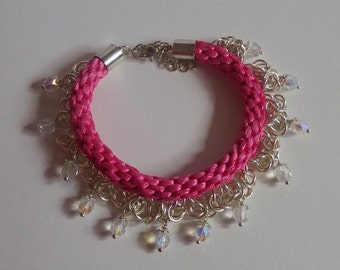 Pink Kumihimo Bracelet with Chainmaille and Glass Bead Charms