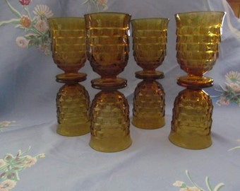 Amber Indiana Glass Whitehall Cubist Footed Juice Glasses Set of Eight