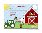 Digital Farm birthday thank you notes Tractor Birthday Party thank you notes Tractor Printable Download within 24 hours
