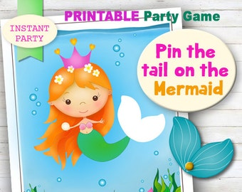Pin the Tail on the Mermaid - Printable party game. Jpeg, digital file. INSTANT PARTY.