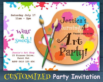 CUSTOMIZED Art Party Printable Invitation - Jpeg printable file, personalized for your child. Paint