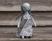 Owl-light. Primitive folk art cloth doll. One of a kind