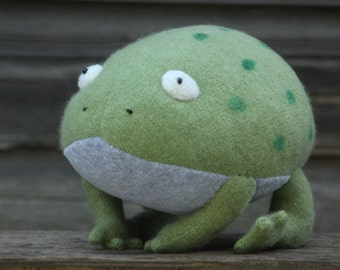 Stuffed frog, frog soft toy, upcycled recycled