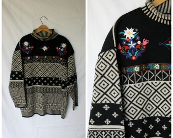 Obermeyer Sweater / Vintage Sweater / Nordic Flowers/ Mock Turtleneck Sweater / Scandinavia Sweater L/XL
