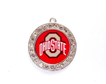 1 Ohio State University Football Pendant/Charms With Crystal Border - Officially Licensed - 27-12-3