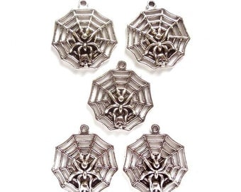5 Antique Silver Spider Web And Skull Charm/Connectors - 21-45-3