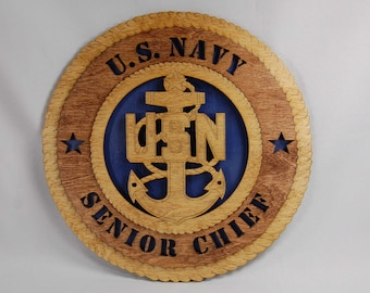 US Navy Senior Chief Petty Officer E-8 laser engraved wall plaque.  Great gift for Veteran's Day or the holidays.  Laser cut, hand finished.
