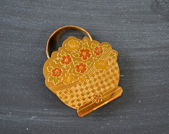 Rare Zell's Powder Compact ~ Hard to Find Zell Flower Basket ~ Retro Ladies Compact ~ Zell Fifth Avenue ~ Compact Mirror