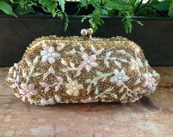 Vintage Gold Beaded Floral Clutch with Chain