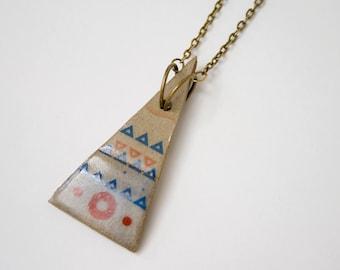 Modern Jewelry. Unique Stoneware Pendant. Bohemian Jewelry. Modern Necklace. Handmade Jewerly. Triangle Pendant. Geometric Pendant.
