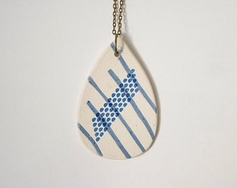 Modern Jewelry. Drop of Rain Pendant. Unique Stoneware Pendant. Bohemian Jewelry. Modern Necklace. Handmade Jewerly. White Blue Lines.