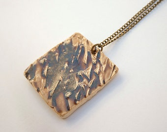 Unique Handmade Necklace. Stoneware Pendant. Handmade Jewelry. Square Pendant. Ceramic Jewelry. Square Necklace. Clay Pendant. Modern.