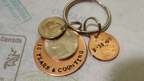 15 Year Wedding Anniversary Gift For Him: 16th Anniversary Keychain 16 Year Anniversary Gift For Him