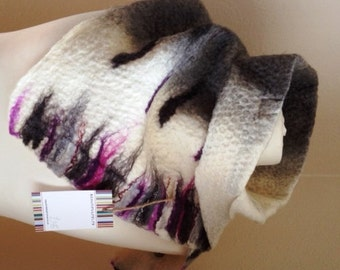 Wool felted scarf. Merino wool scarf. felt scarf. Scarves and wraps. Winter accessories