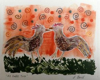 Original monotype / mono print with added pen detail. It takes two.  Hens, Birds, Romance,