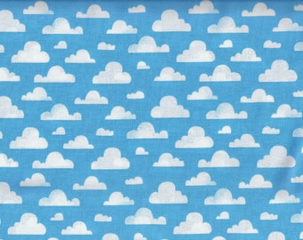 Pitter Patter Cloudy Sky fabric - blue sky white clouds  - Michael Miller - LAST YARD