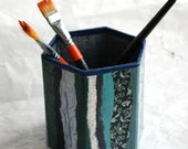 Blue Hanji Patchwork Pen Holder Pencil Case Desktop OOAK Paper Multicolor Blue Aqua Navy Teal Turquoise Organic Design