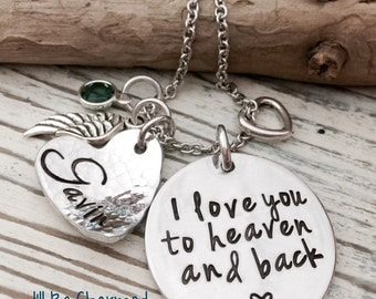 Memory Jewelry, I love you to heaven and back, Hand Stamped, Personalized Jewelry, Birthstone, Angel Wing, Baby Loss Jewelry, Remembrance
