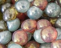 Mushroom Button Czech Glass Bead Mix - 306 - 9x8mm Mushroom Bead Mix