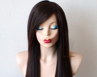 Brown Auburn Ombre wig. Long straight hair long side bangs wig.  Quality synthetic wig for daily use.