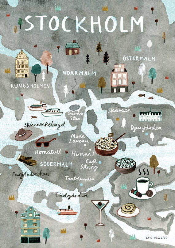 Stockholm Illustrated Map Sweden Art Print City Map Poster