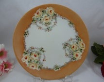 Vintage Hand Painted Thomas Sevres Bavaria Small Yellow Rose Plate - Lovely