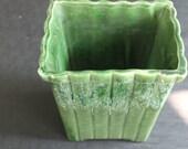 Vintage Mid Century Green Pottery Large Planter Pot USA Pottery
