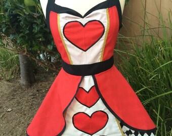 Women's Disney Character Vintage Apron-Queen of Hearts (Red Queen)