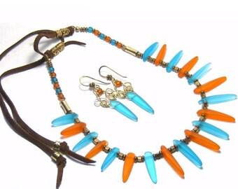 Turquoise Tangerine Faux Sea Glass Necklace Earrings Bohemian Jewelry