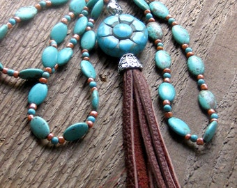 Turquoise Leather Tassel Necklace Layering Necklace Bohemian Jewelry