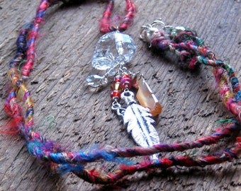 Crystal Skull Necklace, Day of the Dead, Skull Necklace, Goth, Boho Jewelry, Dia de los Muertos, crystal skull, Bohemian Jewelry