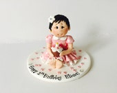 Fully Customised Baby Girl with Cake First Birthday Baby cake topper - Baby Girl Cake Topper