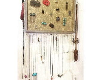 "Wooden Wall Hanging Jewelry Organizer 14x18"" Gray"