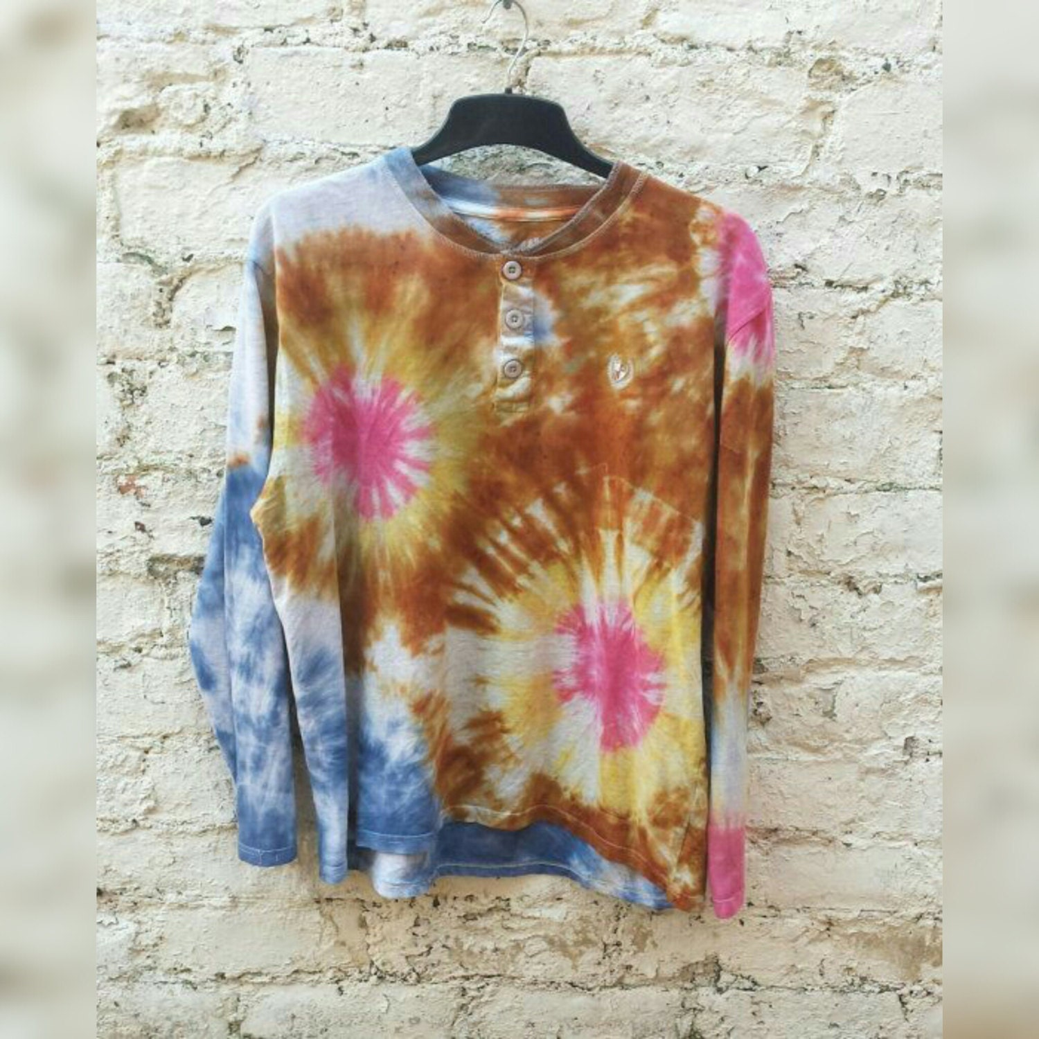 mens tie dye polo shirt in blue brown yellow by